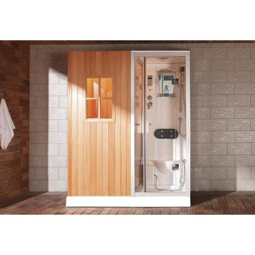 Sauna a secco + umido sauna con doccia idromassaggio, AS-002