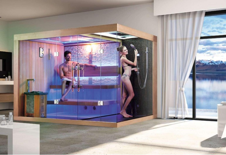 Sauna finlandese e bagno turco con doccia AT-002C!