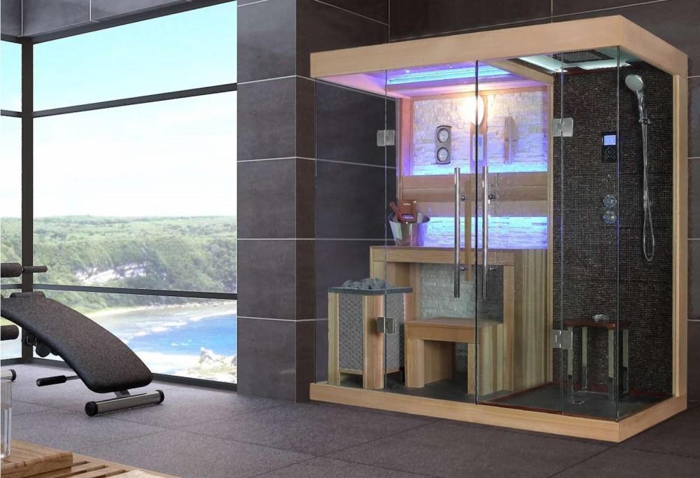 Sauna Finlandese E Bagno Turco Con Doccia AT 001B